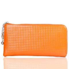 Orange leather Twentysomething chain long section asperity | ladies wallet