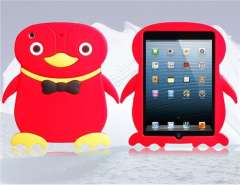 3D Penguin Silicone Protective Case for iPad Mini (Rose Red)