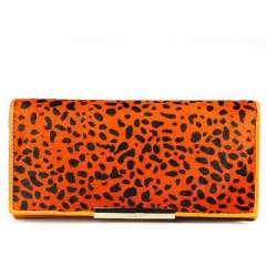 Fashion Orange Xiaomei printing horsehair stitching leather long wallet | Clutch
