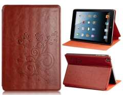 Bi-Fold Flower Print Faux Leather Case with Stand for iPad mini (Brown)