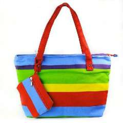 Fashion rainbow striped canvas bag | Zipper bag | Shoulder bag | school bag | school to purse