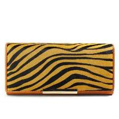Fashion brown zebra print horse hair stitching leather long wallet | Clutch