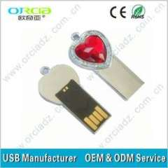small heart shape 100% original full capacity small animal diamond drive\heart shape usb flash drives