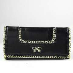 Exquisite bow ladies wallet long black clamshell | evening bags | evening bags