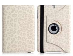 Leopard Rotating PU Leather Case with Stand for iPad Mini (White)