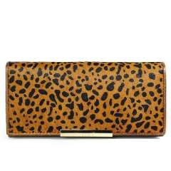 Fashion little brown leopard print horsehair stitching leather long wallet | Clutch