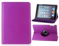 360° Rotation PU & Plastic Flip Case with Stand for iPad Mini (Purple)