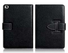 Faux Leather Protective Case with Plug-Pull Closure for iPad Mini (Black)