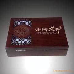 West Lake Longjing tea leaves packing | wooden box | flower window Wood Series | with three ceramic pot