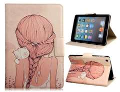My Colors Faux Leather Protective Case with Cartoon Girl Pattern and Magnetic Closure for iPad Mini
