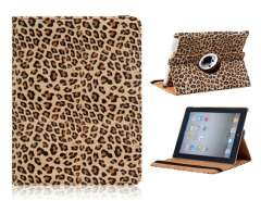 360° Rotation Leopard Pattern PU Leather Flip Case with Stand Function for The new iPad (Brown)