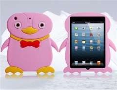 3D Penguin Silicone Protective Case for iPad Mini (Pink)
