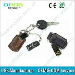 OEM cheapest leather usb flash drive 2GB less than $4.5\pcs