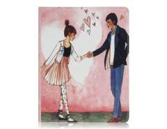 Dancing Lovers Pattern PU Leather Flip Case with Stand Function for The new iPad