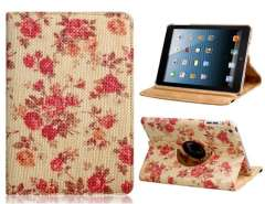 360 Degree Peony Print Woven Protective Case for iPad mini (Pink)