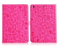 Little Witch PU Protective Case with Stand Function for iPad Mini (Rose Red)