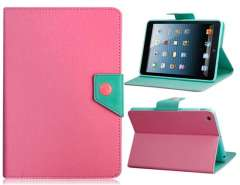 Color Contrast Faux Leather Flip Case with Stand for iPad mini (Pink)