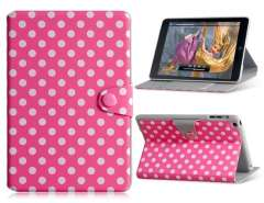 Polka Dot PU & PC Flip Case with Stand for iPad Mini (Pink)