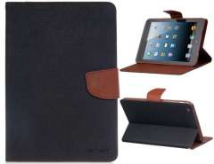 TPU Rubber & Faux Leather Two Fold Cross Pattern Bicolor Protective Case for iPad Mini (Black)