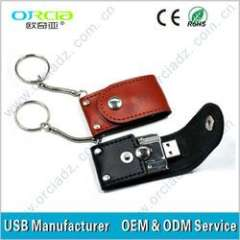 Hot!! leather pendrive usb in good quality(ORU-L025)