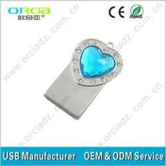 cheap diamond heart shape jewelry usb flash memory