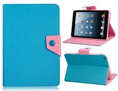 Color Contrast Faux Leather Flip Case with Stand for iPad mini (Blue)