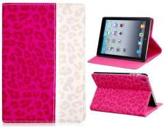 Faux Leather & PC Plastic Leopard Print Protective Case for iPad Mini (Rose Red)