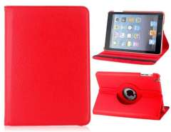 360° Rotation PU & Plastic Flip Case with Stand for iPad Mini (Red)