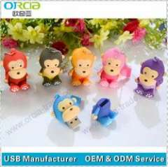wholesale lovely pvc animal shape usb pendrie mix