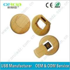 bamboo usb high quality OEM custom promotional bamboo usb with your custom logo round small usb
