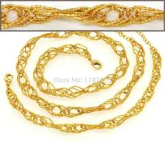 Trendy vintage Chunky Link Chain Women\ Men Necklaces & bangle 18K Real Gold Plated Luxury birthday Jewelry gifts NB60066