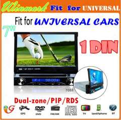 7inch single din car DVD player with GPS, TV, Raido, Bluetooth, iPod, DVD\USB functions DH7088