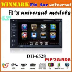 DH6528 6.2inch and double din car GPS, Bluetooth, TV, FM\AM, 3G, MIC, PIP, DVR, Camera, etc for universal models