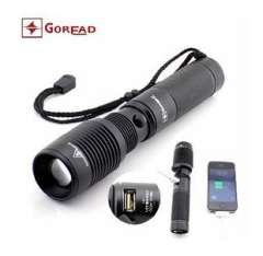Y73 variable light focusing flashlight | torch with USB jacks | iphone mobile phone charging light flashlight