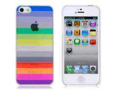 Colorful Rainbow Pattern Transparent Protective Case for iPhone 5 (White)