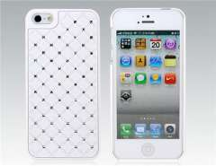Crystal Deocrated PU Leather Layer Protective Case for iPhone 5 (White)
