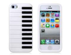 Piano Silicone Protective Case for iPhone 5 (Whtie)