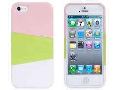 NEWTOP Gathered Tri-Color Protective Case for iPhone 5 (White & Pink & Green)