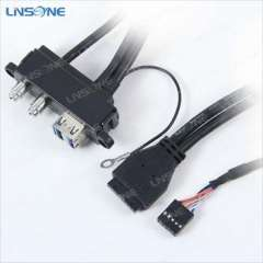 High Quality Y Splitter Audio Panel 3.5 female usb 3.0 to 20 pin cable