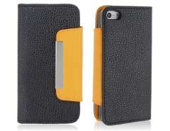 PU Leather Flip Case with a Handy Strap for iPhone 5 (Black)
