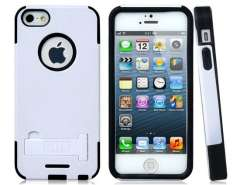 Litchi Lines Design PC Plastic & Silicone Protective Case for iPhone 5 (White)