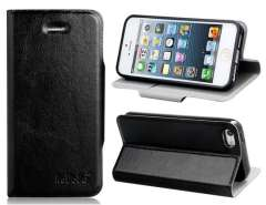 AaBbDd Faux Leather Flip Case with Stand for iPhone 5 (Black)
