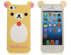 TPU Rubber 3D Cartoon Bear Protective Case for iPhone 5 (Yellow)