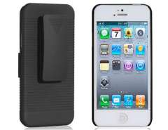 2 in 1 Matte Plastic Case with 180° Rotation Clip for iPhone 5 (Black)