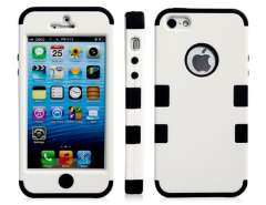3-in-1 Color Contrast Protective Case for iPhone 5 (White & Black)