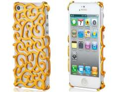 Stencil Artistic Flower Protective Case for iPhone 5 (Golden)