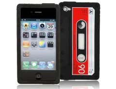 Tape Shaped Silicone Case Cover for iPhone 4 (Black)