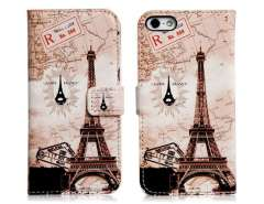 My Colors Eiffel Tower Print Faux Leather Flip Case for iPhone 5