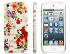 Floral Print Matte Plastic Case for iPhone 5 (White)