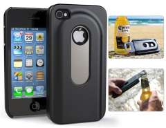 Plastic Case with Bottle Opener for iPhone 4\ 4S (Black)